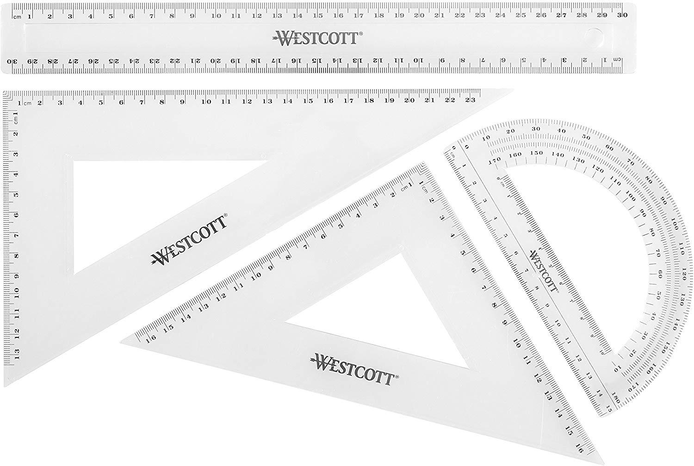 Westcott E-10304 00 Math Set - Transparent (Pack of 4) £1.35 (Prime) + £4.49 (non Prime) at Amazon
