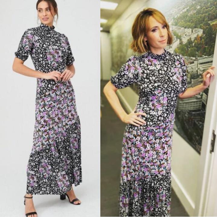 Mixed Print Asymmetric Seam Midi Dress - Purple now £20 click & collect @ Very