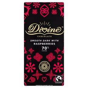 Divine Fairtrade 70% Dark Chocolate with Raspberries 90g, 2 for £3.50 at Waitrose & Partners
