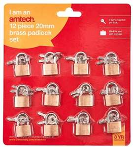 Brass Small Padlocks with Keys for Luggage, lockers, Toolboxes, Cupboards, 20mm, 12-Piece £5.85 at Amazon sold by Bargain Hut Ltd.