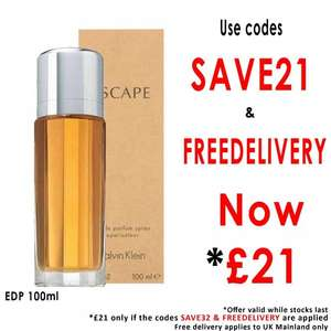 CALVIN KLEIN Escape For Women EDP 100ml Spray Now £21 with code SAVE21 and FREEDELIVERY @ BeautyBase