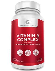Vitamin B Complex 15 Month Supply - 450 Tablets £2.99 prime / £7.48 non prime Sold by Nutribioticals Ltd and Fulfilled by Amazon
