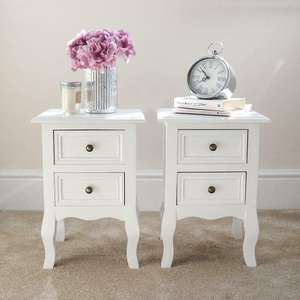 Two Vintage Country Style Bedside Tables With 2 Drawers - £44.99 Using Code @ eBay / wido-uk