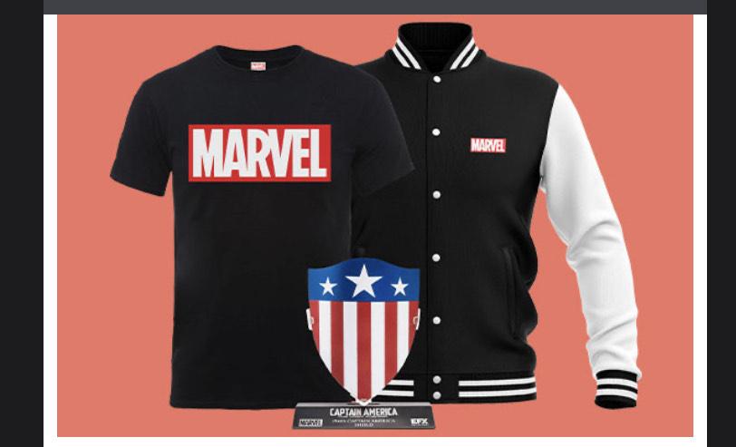 Epic Marvel Bundle (Marvel Varsity Jacket, T-Shirt and Captain America Replica Shield) Only £34.99 @ Zavvi