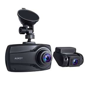 """AUKEY 1080p Dual Dash Cams 2.7""""Screen,FHD Front+Rear Camera/170°Wide-AngleLens/G-sensor/Dual-Port Car Charger-£74.99-Sold by MingXiEu & FBA"""