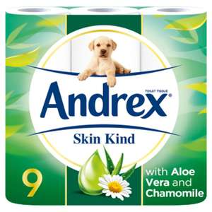 Andrex Skin Kind Enriched with Aloe Vera Toilet Tissue 9 Rolls 2 Ply £4.50 instore @ Wilko