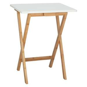 Bamboo and white lacquer folding side table in white and natural £18 (+ £4.95 delivery. Free with order of £50+) @ Habitat