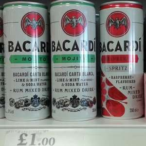 250ml cans of Bacardi Mojito or Bacardi Raspberry Spritz, both £1 at Home Bargains, in-store at Bidston Moss, Wirral