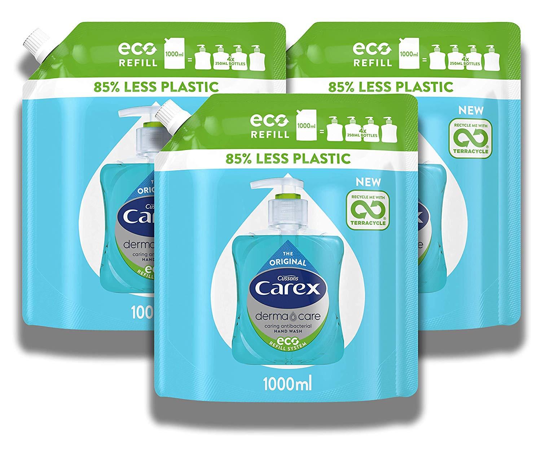Carex Dermacare Antibacterial Hand Wash Liquid Soap Refill 1000ml, Multipack of 3 x 1L at Amazon £8.12 S&S £8.50 Prime (+£4.49 non Prime)