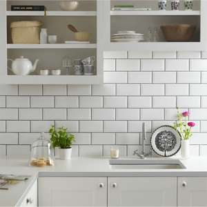 Metro White Wall Tile 200x100mm 25 pack £4 @ Homebase (free click and collect)