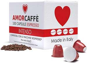 Amorcaffe 100 Nespresso Compatible Coffee Capsules Pods - Intenso Taste £9.59 (Prime) + £4.49 (non Prime) at Sold by acaffe and FBA