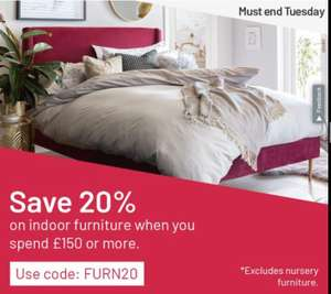 Use Voucher Code FURN20 to get 20% off indoor furniture (spend £150 or more)
