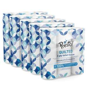 Presto! 3-Ply Quilted Toilet Tissues, 45 Rolls (5 x 9 x 200 sheets) £19.49 (+£4.49 Non Prime) £9.75 or £7.80 Subscribe & Save @ Amazon