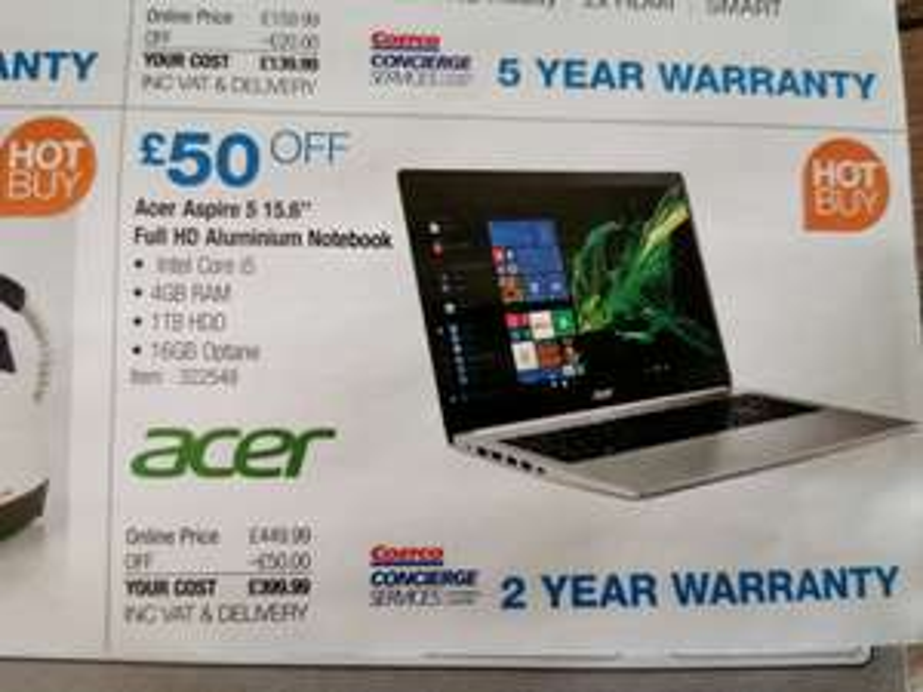 "Acer Aspire 5 15.6"" laptop £399.99 @ Costco"