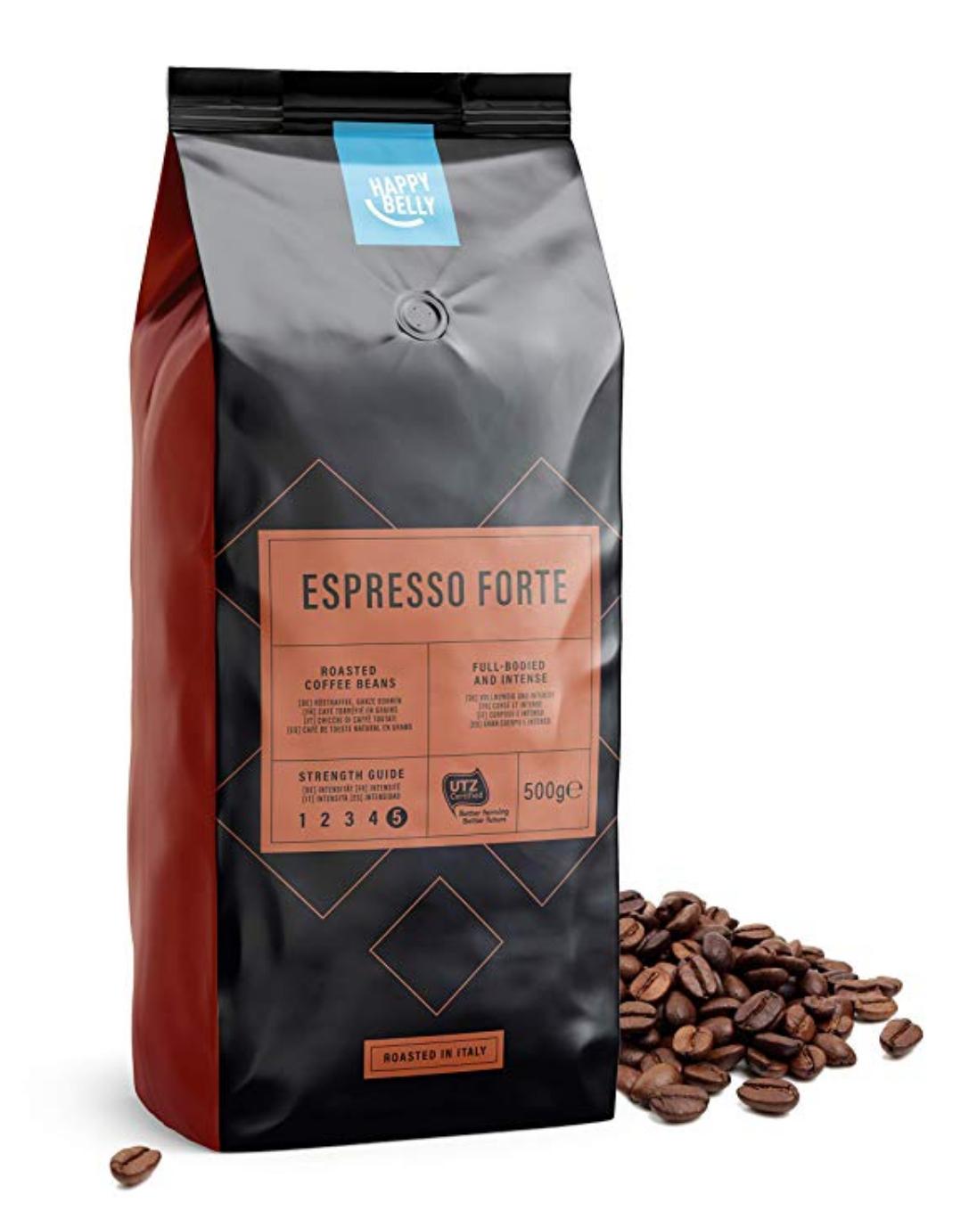 """Amazon Brand - Happy Belly Coffee Beans """"Espresso Forte"""" (2 x 500g) £8.03 (+£4.49 Non Prime) (or £7.63 s&s) @ Amazon"""
