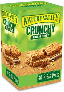 Nature Valley Crunchy Granola Bars Oats 'n' Honey 40 Pack 2 Bars Per Pack £8 (Prime) + £4.49 (non Prime) at Amazon