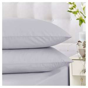 Half price Silentnight Housewife Pillowcase Pair £2.50 or Cotton Fitted Sheets (Kingsize £6 /Double £5.50 /Single £5) White/Silver @ Tesco
