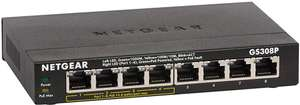 NETGEAR 8-Port Gigabit Ethernet PoE Network Switch, Hub, Internet Splitter (GS308P) - with 4 x PoE - 55W @ Amazon