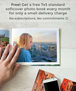 Free prints Photo book app - Upto 20 pages Free 7x5 standard softcover photo book every month (Del £5.99) at Google Play