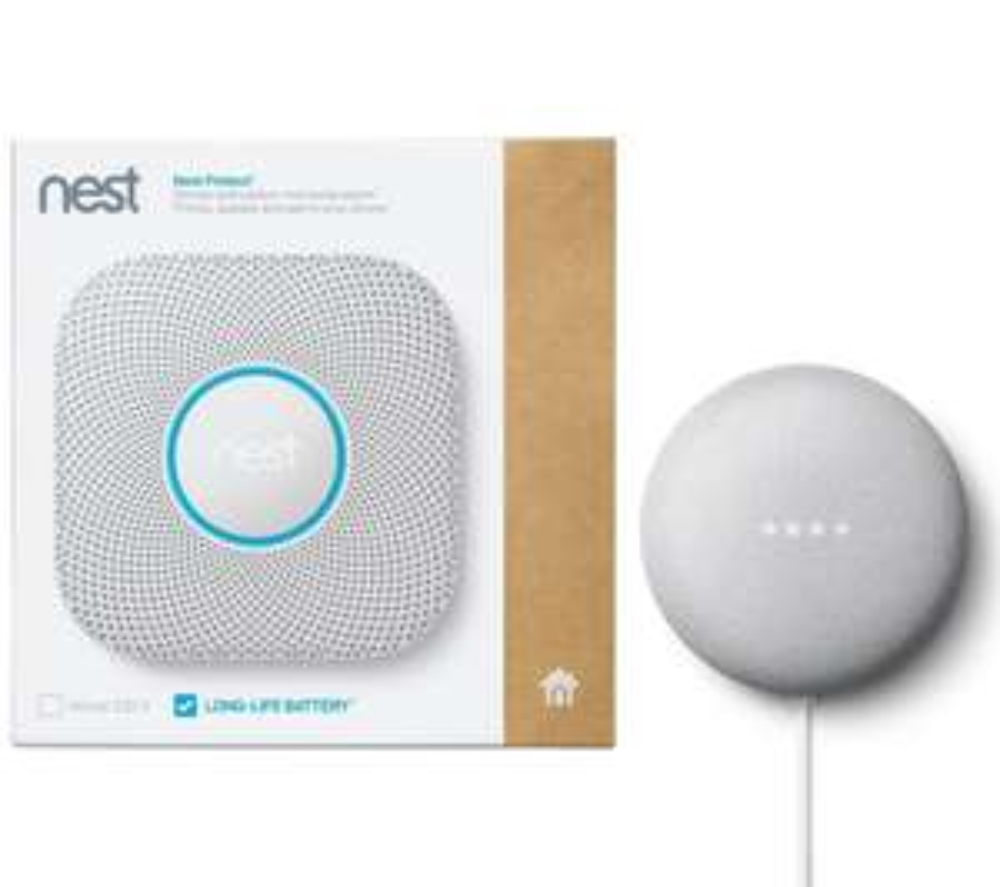 GOOGLE Nest Protect Smoke and CO Alarm & Chalk Nest Mini Bundle £94.99 at Currys PC World