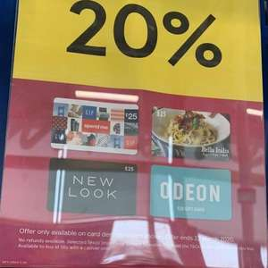 20% off selected gift vouchers - 20% off bella £25 / 20% off odeon £25 / 20% off gap £25 / 20% off newlook £25 at Tesco Dumfries