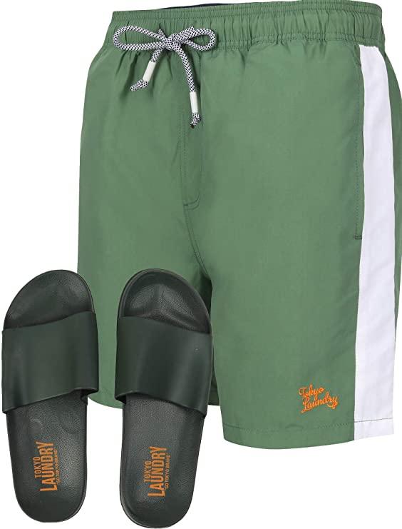 Tokyo Laundry Men's Velorium Swim Shorts & Slides for £3.99 Delivered at Get The Label