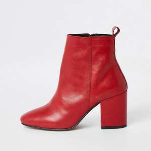Red leather block heel ankle boots now £25 at River Island - free store collection