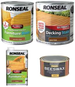 Ronseal Ultimate Protection Hardwood Furniture Stain 750ml /Decking Stain 2.5L £2.50 /Hardwood Garden Furniture Oil £2 /Beeswax £3 @ Wickes