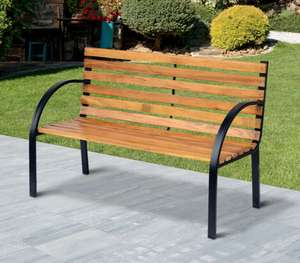 Outsunny 2 Seater Garden Bench Metal Wooden Slatted £41.99 delivered @ Outsunny/eBay