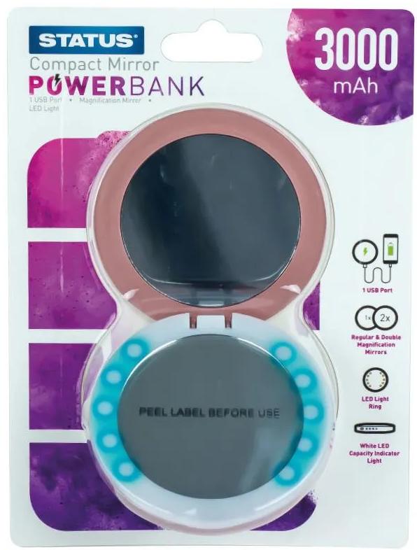 Status 3000mAh Power Bank Compact Mirror with LED Illumination - Rose Gold - £5 + Free Click & Collect @ Robert Dyas
