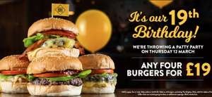 Any 4 Burgers for £19 at GBK (dine-in only) - Today Only