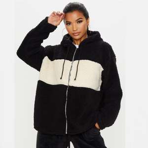 Black Borg Contrast Hooded Oversized Zip Up Jacket £14.00 with Next Day Delivery @ PrettyLittleThing