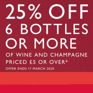 Waitrose Cellar 25% off 6 bottles priced £5 or over - Standard is £5.95 or FREE on orders over £150