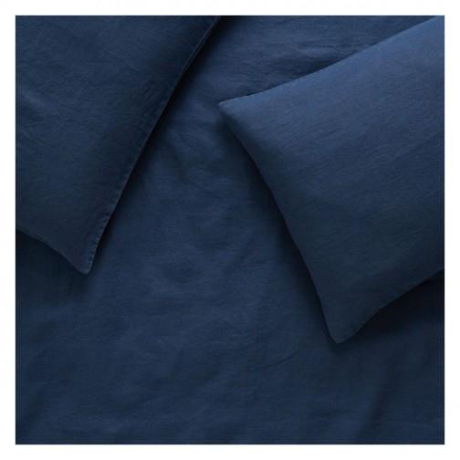 Linen Petrol Ink blue linen double duvet cover set, £52.50 with code at Habitat