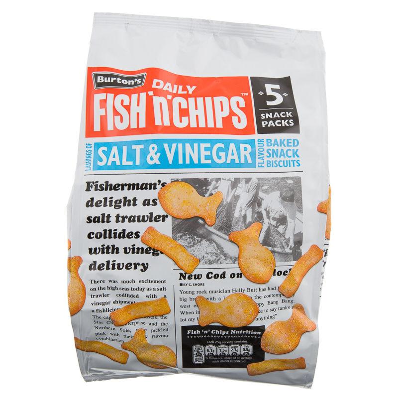 5 packs of Burton's Fish 'N' Chips salt & vinegar (10p per pack!) - 50p instore @ B&M