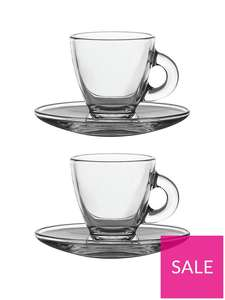 Ravenhead Entertain Glass Espresso Cup and Saucer x 2 Set £5 (£2 C&C / Free on orders over £25) @ Very