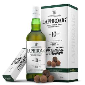 Laphroaig 10 Year Old Islay Single Malt Scotch Whisky with Milk Chocolate Truffles Gift Box £28 delivered at Amazon