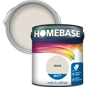 Two Homebase standard coloured emulsion 2.5L (many colours available) for £20 click & collect @ Homebase