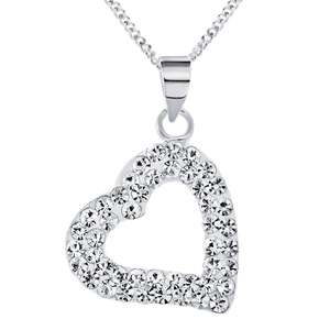 Revere Sterling Silver Crystal Heart Pendant 18 Inch Necklace, Now £7.49 +Free Click & Collect @ Argos