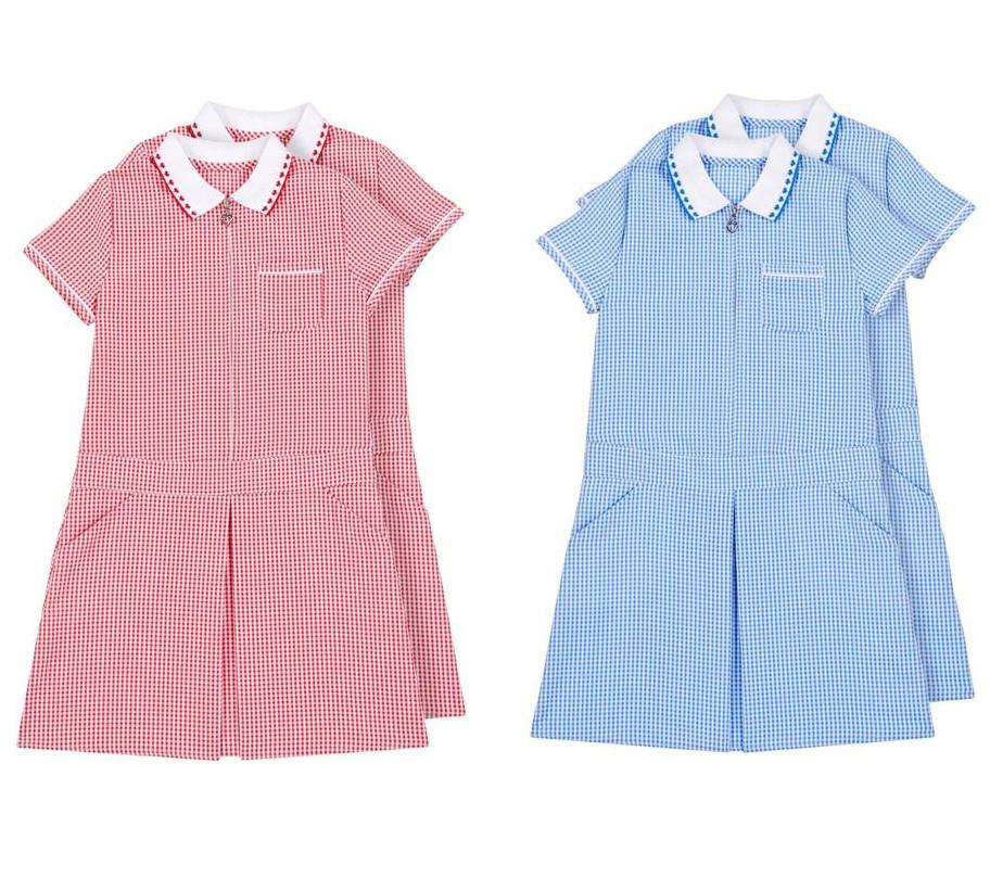 Nutmeg Girls Red or Blue Sporty Gingham Dresses - Pack of 2 for £3 @ Morrisons