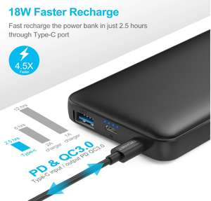 Tecknet 10000mAh 18W USB C power bank £11.99 Prime / £16.48 Non-prime - Sold by BLUETREE and Fulfilled by Amazon