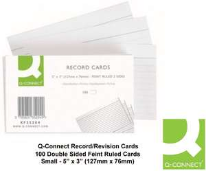 Q Connect 5x3 Inches Ruled Feint Record Card - White (Pack of 100) 89p (+£4.49 Non Prime) Amazon