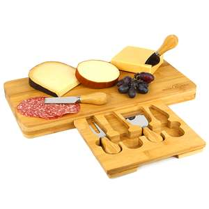 Bamboo cheese board serving platter with knife set included from M&W for £12.99 delivered (using code) @ Roov