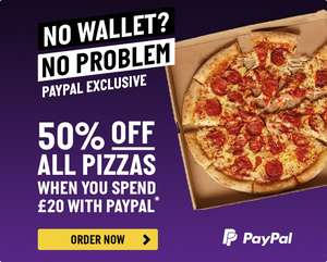 Papa Johns: 50% off pizzas when you spend £20 with PayPal
