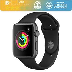 Apple Watch Series 3 42mm Space Grey Black Sports Band Grade B- Retail Boxed 12 Months Warranty £145.99 Studentcomputers.co.uk