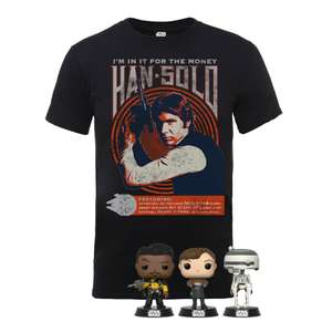 Star Wars Solo POP figures x 3 & Solo T-Shirt bundle for £16.99 delivered (using code) @ Zavvi