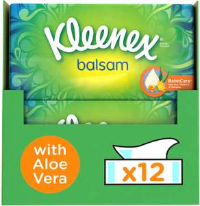 Kleenex Balsam Facial Tissues, Pack of 12 Tissue Boxes with Protective Balm for Cold and Flu Symptoms £21 Amazon (2 per customer allowed)