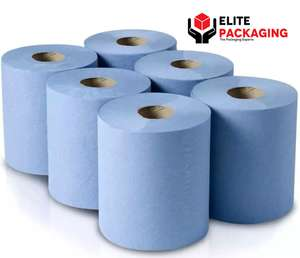 6 Pack Office Workshop Blue Hand Towels Rolls 2 Ply Centre feed Rolls Wipes - £9.29 delivered @ elite-packaging eBay