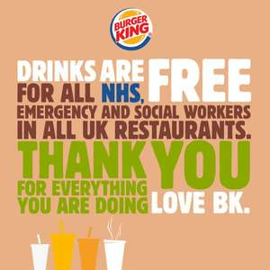 Burger King offering free drinks to all NHS, emergency and social workers at all UK restaurants