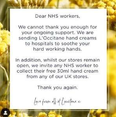 Free hand cream for NHS Staff @ L'Occitane Shop
